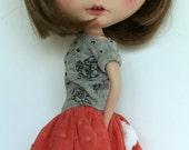 Thumper set for Blythe doll, dark salmon tone