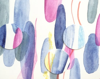 Pastel colors watercolor, abstract art, contemporary mixed media, works on paper