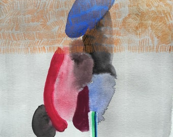 Abstract painting, mixed media, watercolor, gouache