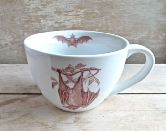 Mug with Bat and more Bats, Flying Bats and Castle, Fruit Bat,  Large Coffee Cup, 18 oz Tea Cup Teacup with Fruit Bat, Ready to Ship
