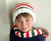 Christmas Stocking Cap - Red White Green Hat - Long Stocking Hat ~ Elf Hat ~  Childs Knit Hat