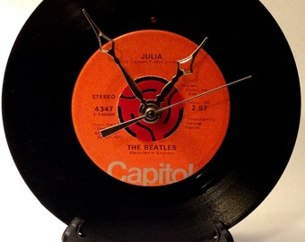 "Recycled BEATLES 7"" Record / Julia / Record Clock"