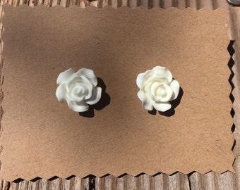 Medium White Rosebud Earrings