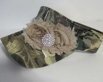 Golf Sun Visor Camouflage with Matching Chiffon Flowers and a Rhinestone Accent Golf Hat Sun Hat Accessories Duck Dynasty