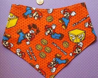 Mario brothers bib with adjustable snaps. handkerchief, Mario inspired, drool bib, red, reversible, baby, food, feeding, infant, toddler