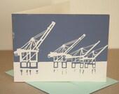 Single Port of Oakland Cranes Linocut Card in Gray