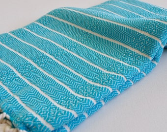 Diamond Turkish Bath Towel Bamboo Peshtemal Towel in Turquoise Blue Pure Soft