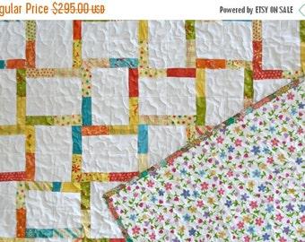 HURRY FLASH SALE Rainbow Twin Bed Quilt - Rainbow Quilt - Girls Quilt - Lap Quilt - Baby Bedding - Moda Fabrics