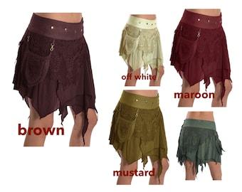 STEAMPUNK SKIRT, pixie skirt, Elf skirt, gypsie skirt, goa skirt, Mfskar
