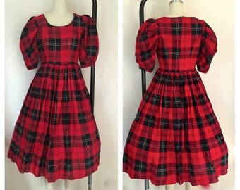 Vintage 1970s Red Black Plaid Square Dance Full Dress