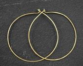 EVERYDAY HOOP EARRINGS - Large Skinny Flat Brass Hoops 53mm