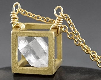 RAW HERKIMER DIAMOND Cube Pendant - Solid Brass 10mm cube