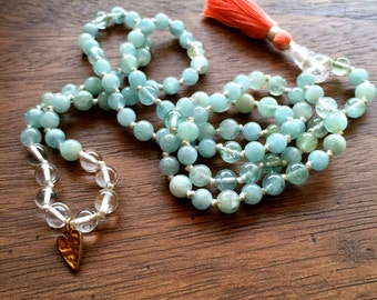6-7mm Aquamarine Knotted Mala Beads - Yoga Prayer Beads