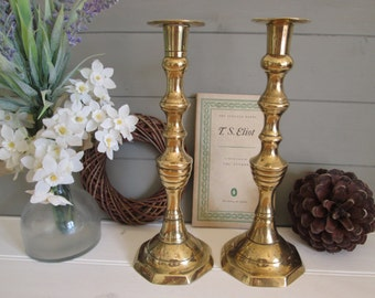 Brass candlesticks vintage pair of beehive candlestick holders