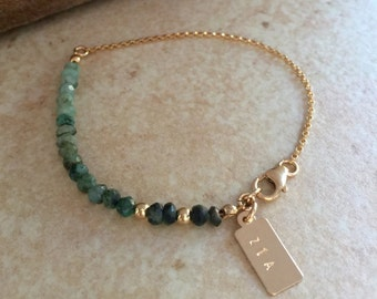 Personalized Emerald Bracelet Ombre Emerald Bracelet Wife Anniversary Gift May Birthstone Stacking Bracelet Green Emerald Jewelry