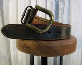 "Vintage 90's men's dark brown leather belt 32"""