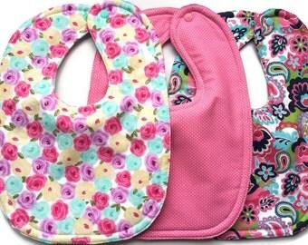 Flower Bibs - Girl Bibs - Girls Bib Set - Drool Bibs - Baby Girl Gifts - Dribble Bibs  - Toddler Bibs -  Floral Baby Nursery - Baby Shower