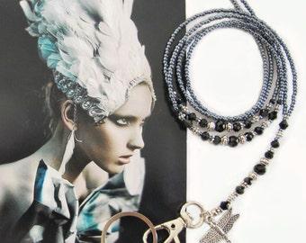 Lanyard, Charcoal metallic grey black crystal and silver, Beaded ID holder, Badge clip holder, Key chain, fashion lanyard, Handmade lanyard