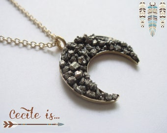 Pyrite moon necklace - Crescent moon necklace - Druzy gemstone necklace - Pyrite necklace - Boho gypsy hippie jewelry