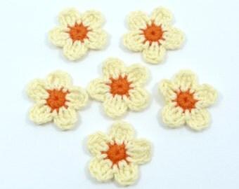 Crochet appliques, crochet flowers. 6 small applique flowers, cardmaking, scrapbooking, craft embellishments, appliques, sewing accessories.