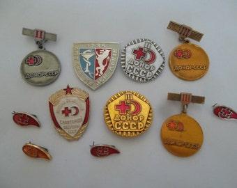 set of rare soviet medicine pin badge pinback icon 11 pcs
