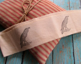 Rustic Crow Tea Dyed Muslin Trim, Over The Hill, Old Crow, Gift Wrapping,  Holiday Ribbon, Vintage Inspired, Hand Frayed, Hand Stamped
