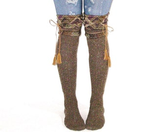 Tahoe Tassel Boot Socks Slouch Top Over The Knee Made With Recycled Sweaters Brown Tan Peruvian Diamond Cable Knit Vegan Leather Ties