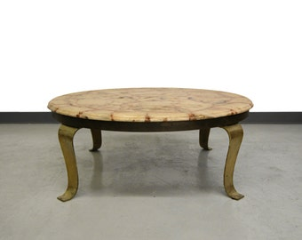 Brass & Onyx Coffee Table by Arturo Pani for Muller Onix of Mexico