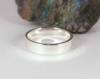 5mm x 1.25mm Polished Silver Band Ring, Sterling Silver, Made to Order