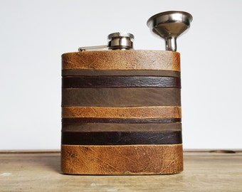 Initialled Leather Flask, Personalized Oak Layers Flask, rustic leather, distressed strips hip flask, wedding & birthday gifts