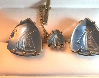 RARE Vintage Swank Arts of the World Crystal Sailboat Cufflink Set