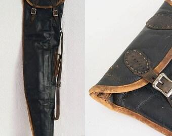 "Vintage Soft Takedown Shotgun Rifle Case Genuine Leather 30"""