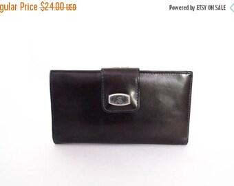 Vintage Burgundy Wallet Attached Coin Purse Credit Card Slots Checkbook Holder Marked JS 1990s