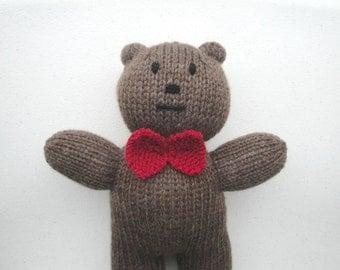 Teddy Bear in Bowtie, Hand Knit Bear, Stuffed Animal, Plush Bear, Stuffed Teddy Bear