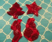Vintage Christmas Cookie Cutters Red Plastic Set Of 4 Aunt Chicks Original Box Mid Century Kitchen