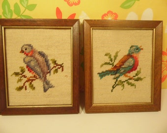 Pair Birds Needlepoint Wall Hangings Vintage 1970s