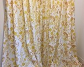 Vintage Curtains, Floral Drapery, Yellow Curtains, Yellow Drapes, Long Curtain Panel