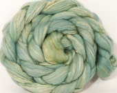 Batt in a Braid #25 -Naturally Dyed top -Coreopsis , Saxon Blue - (4.3 oz.)De-haired llama/Polwarth /Mulberry Silk (33/33/33)