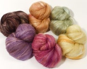 Natural Dyed Fiber Batts - Golden Lily - (4.2 oz.) wool, silk, FLAX