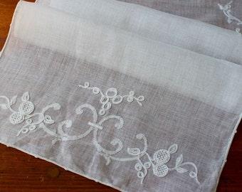 Vintage Linen Runner Dresser Scarf Table Madeira Fine White Hand Embroidery Applique