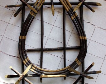 Vintage Bent Twig Picture Frame Rustic Adirondack Wood Gold Curio Antique Stick