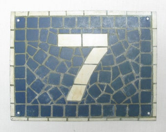House Number Plate No. 7, Original French Blue and White Sign, Mosaic Signs, French Signs, French House Number Plate, Blue and White Signs