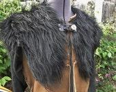 Viking Fur Capelet, Mantle - Medieval, Barbarian, Renaissance - Faux Fur Black Wolf