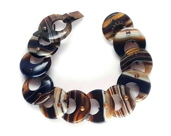 Beautiful Victorian Brown Banded Scottish Agate Disk Bracelet
