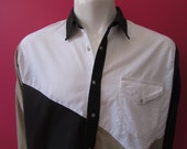 Mens XL cowboy shirt, Western Plains, vintage, beige white and black parti-colored, pearl snaps (649)