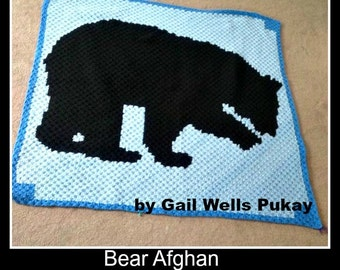 C2C Graph, Bear Afghan Crochet C2C Graph and Written Word Chart