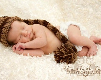 Newborn Elf Hat, Striped Elf Hat, Newborn Photo Prop, Striped Hat, Boy Photo Prop, Neutral Baby Hat