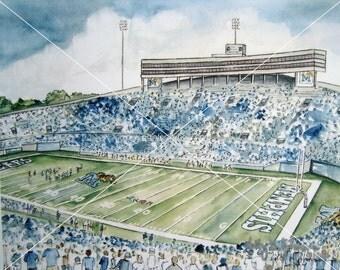 University of Memphis Tigers Football Art Print Artwork Painting Liberty Bowl Stadium