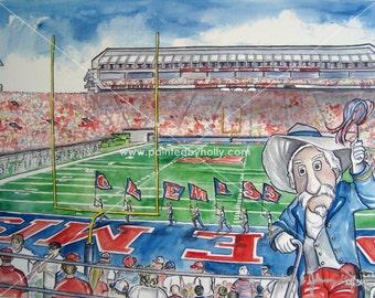 Ole Miss Rebels Football Colonel Reb Art Print // Vaught-Hemingway Stadium Watercolor Painting // Col Rebel Artwork