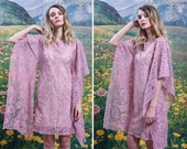 70s KIMONO SLEEVE Floral LACE Mini Dress 1970s Light Purple Pink See Through Bohemian Goddess Festival Dress (small)